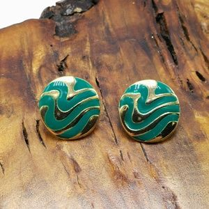 Vintage stud emerald green teal abstract gold dain